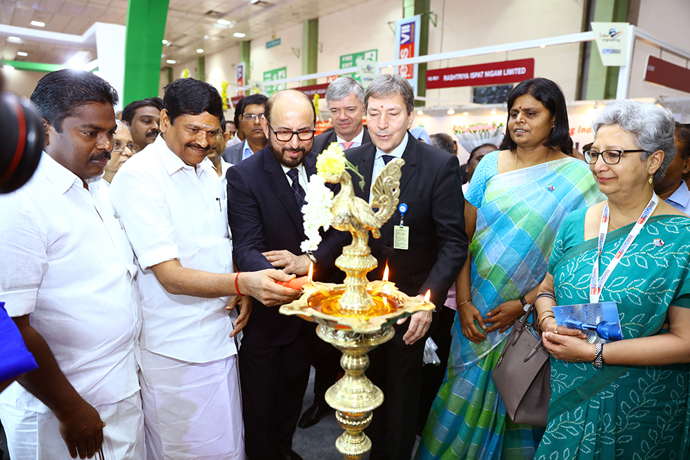 Mr Ravi Sehgal, Chairman,EEPC India lighting the lamp at the inauguration of Tamil Nadu Pavilion along with Mr. M.C. Sampath, Minister for Industries,Govt. of Tamil Nadu; Mr. P. Benjamin, Minister for Rural Industries and MSME,  Govt. of Tamil Nadu ( on his left) ; Mr. Tomas Huner, Minister for Industry & Trade, The Czech RepublicMs ; Ms.Apoorva, IAS, Managing Director, TANSIDCO (Tamilnadu Small Industries Development Corporation Limited ) and Ms Rita Teaotia, Commerce Secretary, Union Ministry of Commerce and Industry, Govt. of India ( on his right)