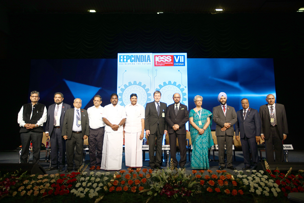 Dignitaries on the dais during the inauguration of IESS VII. From left to right : Mr SudhirGarg, Joint Secretary, Office of the Development Commissioner, Ministry of Micro, Small & Medium Enterprises, Govt. of India; Mr.BhaskarSarkar, Executive Director and Secretary, EEPC India; Mr. Mahesh K. Desai, Sr. Vice Chairman, EEPC India; Mr. K Gnanadesikan, Additional Chief Secretary to Govt. of Tamil Nadu; Mr. P. Benjamin, Minister for Rural Industries and MSME,  Govt. of Tamil Nadu; Mr. M.C. Sampath, Minister for Industries,Govt. of Tamil Nadu; Mr. Tomas Huner, Minister for Industry & Trade, The Czech Republic; Ms Rita Teaotia, Commerce Secretary, Union Ministry of Commerce and Industry, Govt. of India;Mr Ravi Sehgal, Chairman, EEPC India; Mr. B. S. Bhalla, Joint Secretary, Ministry of Commerce & Industry, Govt. of India and Mr.Rakesh Shah, Former Chairman and Chairman of Publication, Exhibition and Delegation Committee, EEPC Indiaand  Mr. R.P. Jhalani, Former Chairman, EEPC India